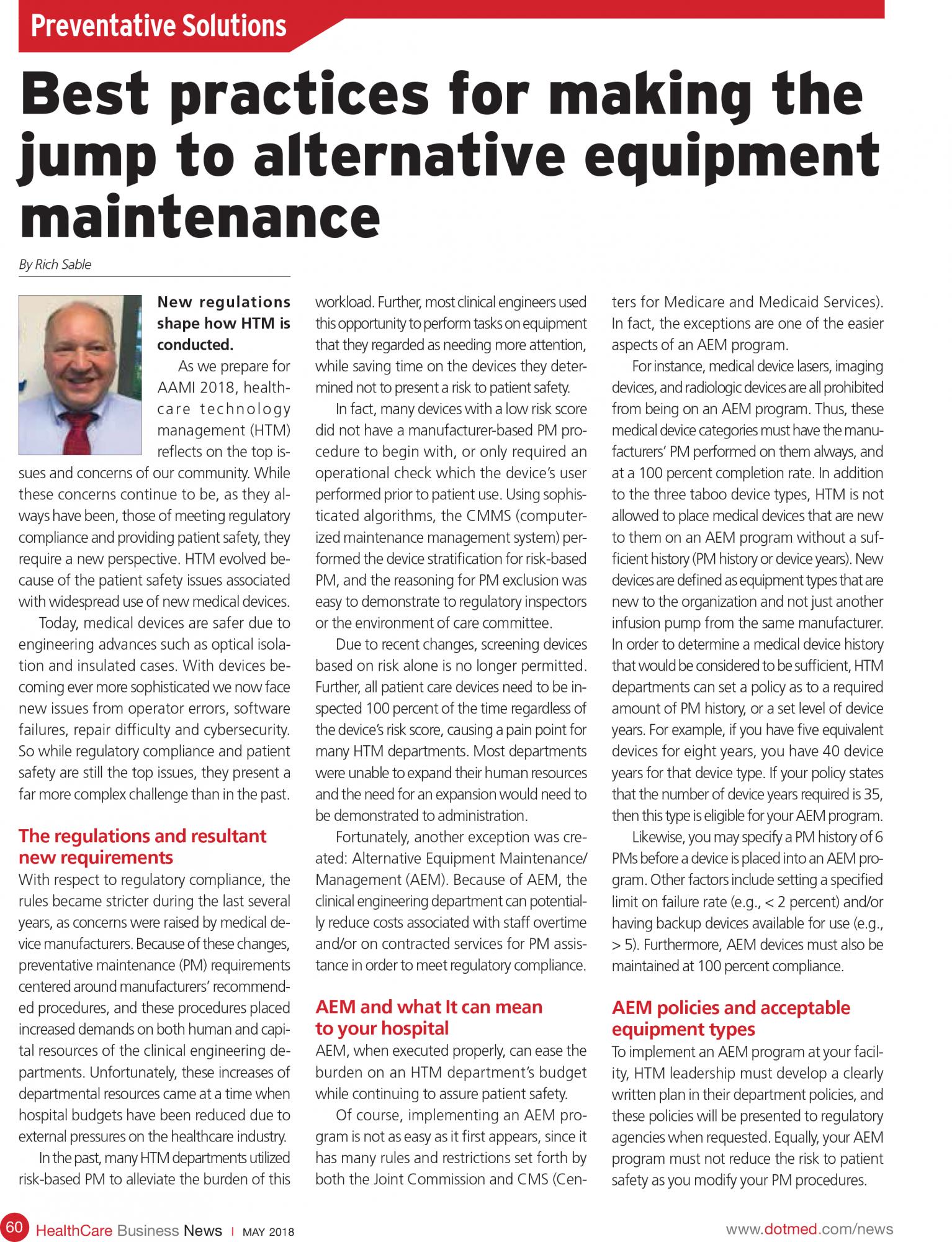 alternative equipment maintenance best practices